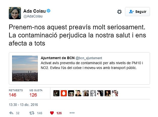Ada Colau, alcaldesa de Barcelona pidiendo conciencia con el tema